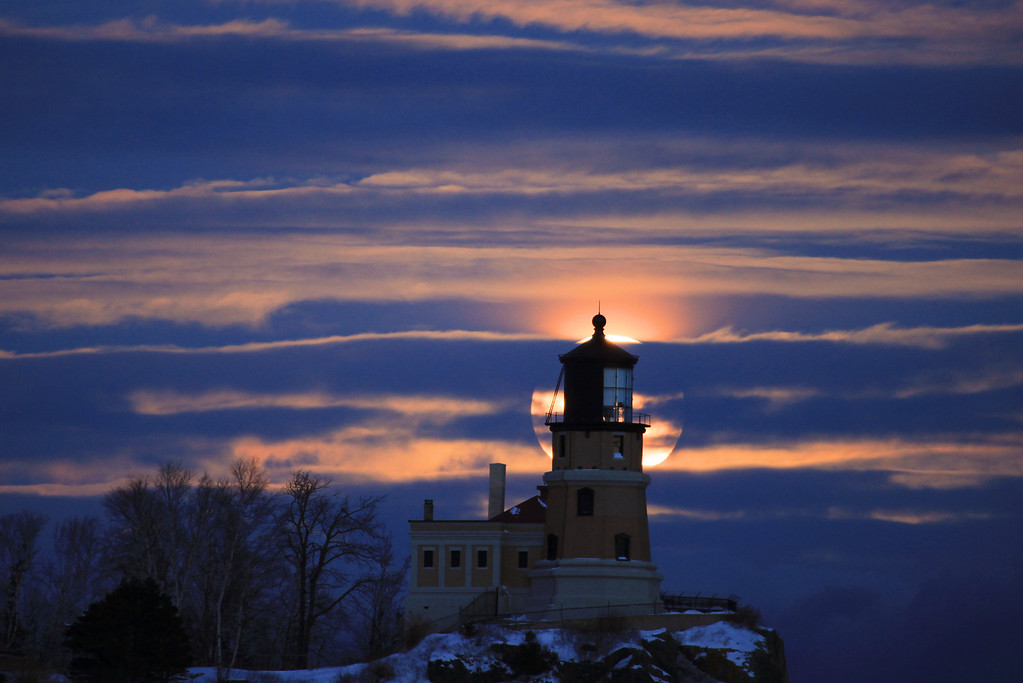 "MOONLIGHT 4580<br /> <br /> ""January Moonrise, Split Rock Lighthouse""<br /> <br /> Split Rock Lighthouse State Park, MN"