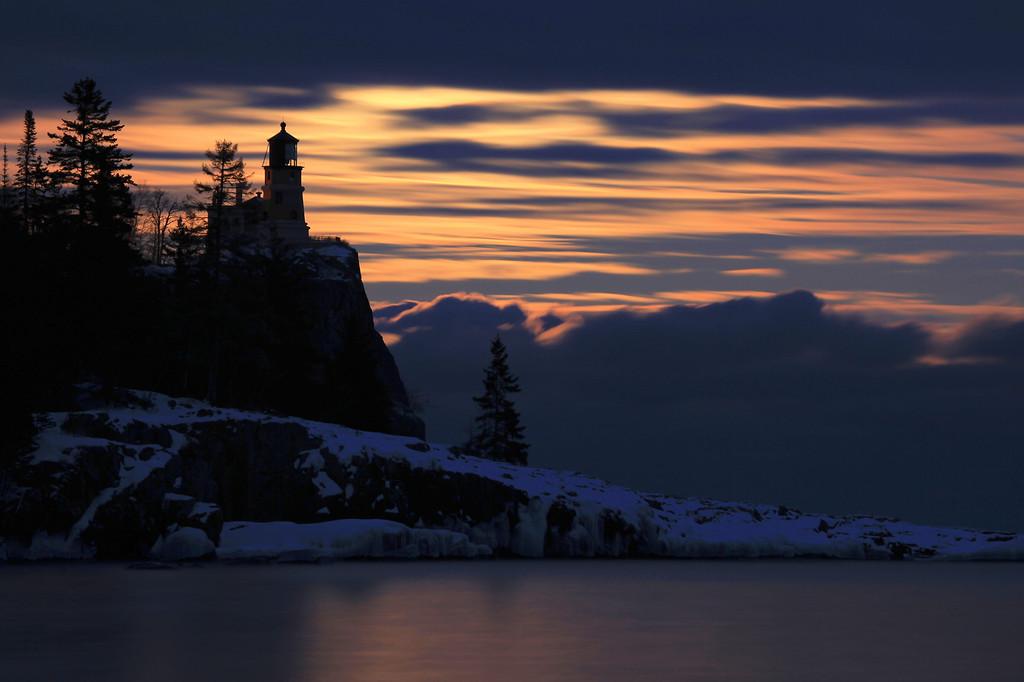 """MOONLIGHT 4601<br /> <br /> """"Moonlight on Split Rock""""<br /> <br /> Split Rock Lighthouse State Park, MN"""