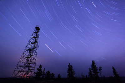 "STAR TRAILS 7460  ""Fire Tower Star Trails""  43 minute exposure of the night sky on May 18, 2012"