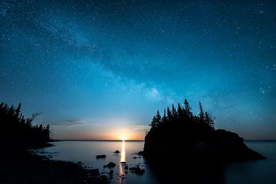 "MILKY WAY 5116  ""Milky Way Moonrise over Rock Island"""