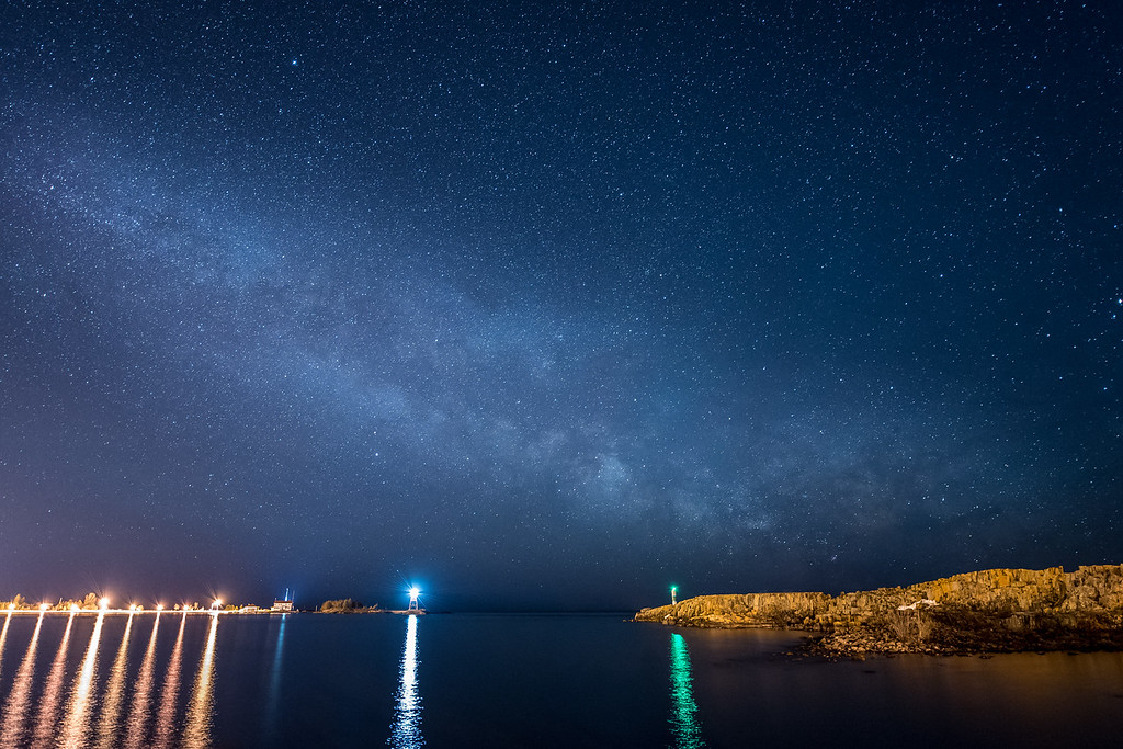 "MILKY WAY 4266<br /> <br /> ""Cool Sky over America's Coolest Small Town""<br /> <br /> Milky Way over Grand Marais, MN on April 17, 2015.  Grand Marais was recently voted ""America's Coolest Small Town"" by the readers of Budget Travel Magazine."