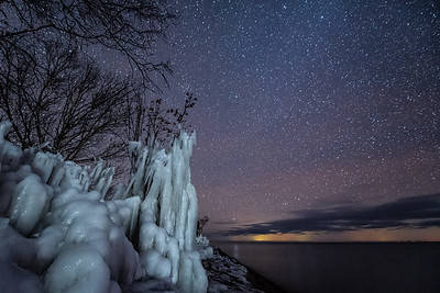 """Night Ice, Lake Superior shoreline"""