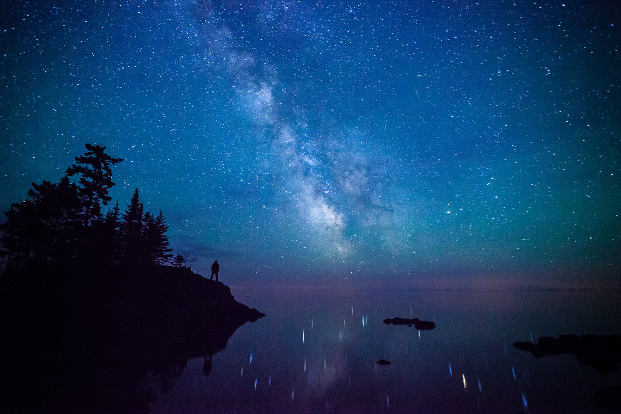 """MILKY WAY 6049<br /> <br /> """"The Milky Way over Tombolo Island - Superior Hiking Trail"""""""