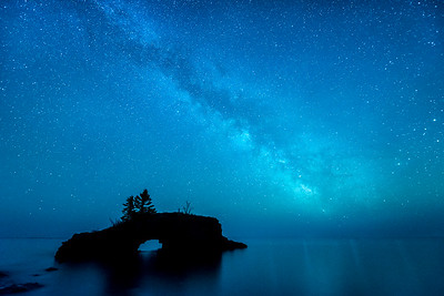 """MILKY WAY 5513  """"Island Universe""""  The Milky Way over Hollow Rock on Lake Superior in Grand Portage, MN."""