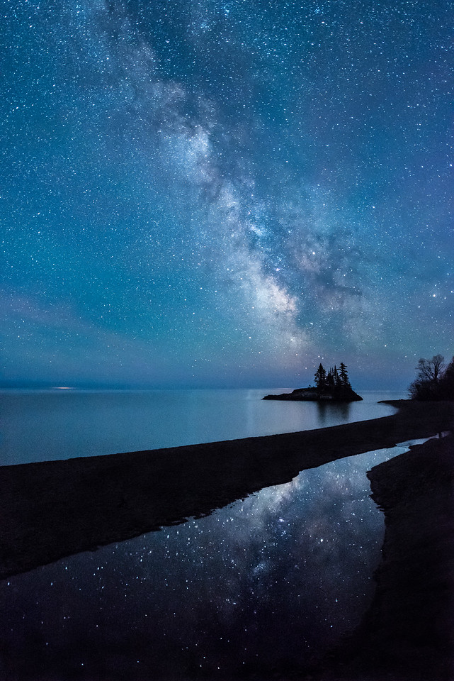 """MILKY WAY 2760<br /> <br /> """"A Magical Night under the Milky Way""""<br /> <br /> Lake Superior along the Superior Hiking Trail lakewalk section just north of Grand Marais, MN."""