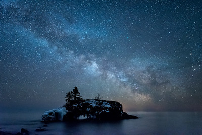 "MILKY WAY 7371  ""Galaxy Quest""  The Milky Way over Hollow Rock in Grand Portage, MN on April 5, 2016."