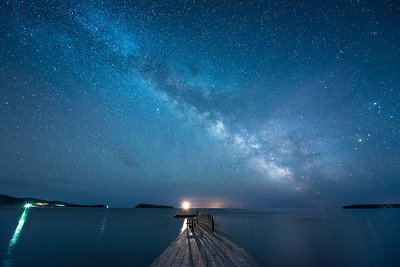"""MILKY WAY 4471  """"April Milky Way over the Monument Dock""""  Grand Portage National Monument, MN"""