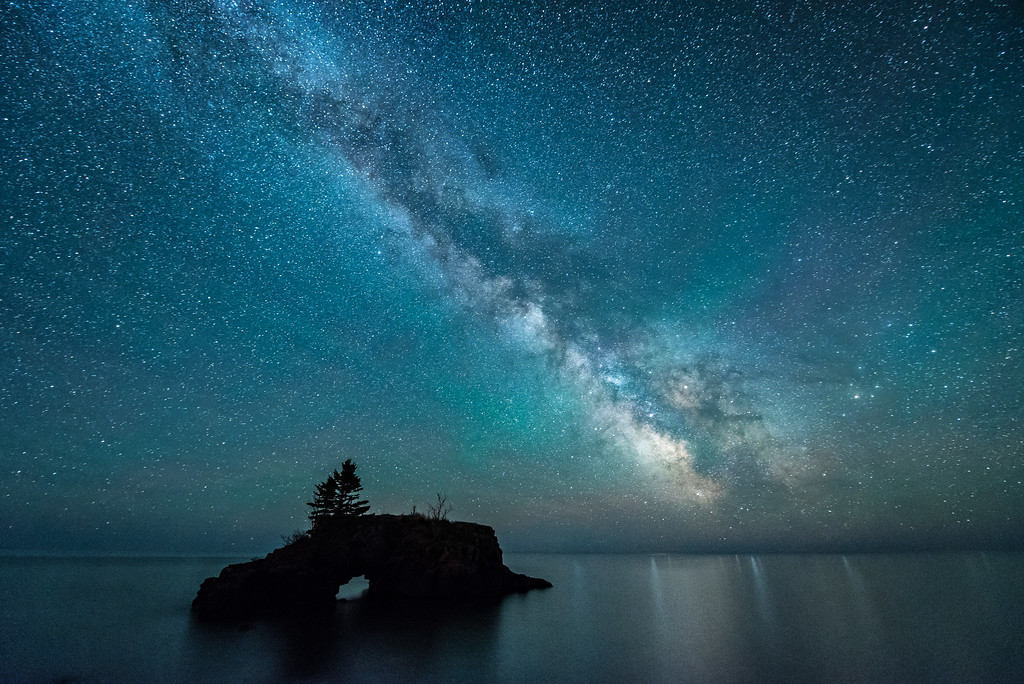 """MILKY WAY 2727<br /> <br /> """"Hollow Rock and the Milky Way""""<br /> <br /> Grand Portage, MN"""