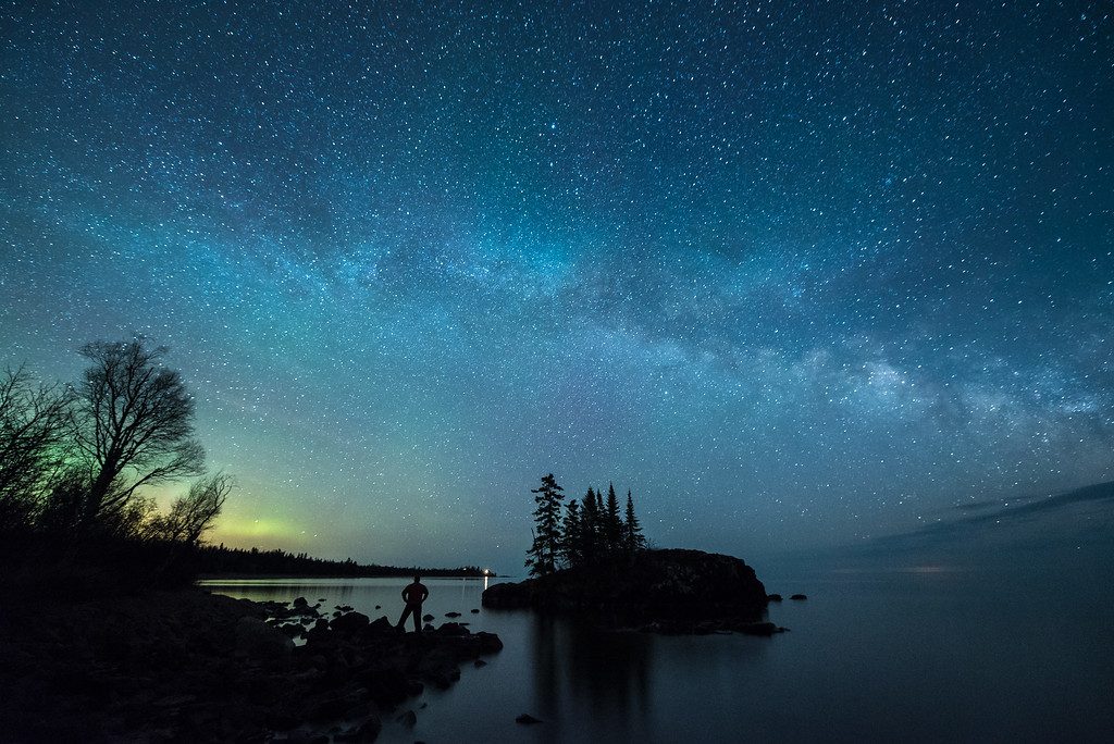 "MILKY WAY 4181<br /> <br /> ""Lover of the Lights""<br /> <br /> The Milky Way and a hint of the Aurora Borealis (northern lights) on the Lake Superior shoreline the morning of April 17, 2015."