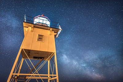 "MILKY WAY 4286  ""Grand Marais Lighthouse and the Milky Way""  Grand Marais, MN"