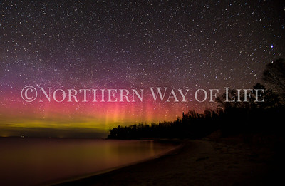 Northern lights over Lake Michigan near Leland, MI