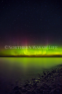 Northern Lights/Aurora Borealis over Lake Michigan near Northport, Michigan