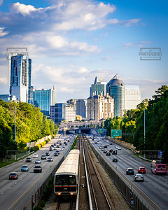 MARTA Train and Buckhead Skyline -Atlanta GA