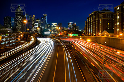 Atlanta GA Skyline and Interstate 75-85 at Night