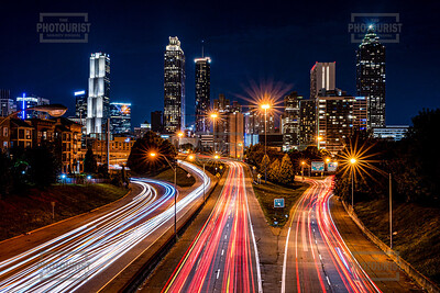 Atlanta GA Skyline from Jackson Street Bridge at Night