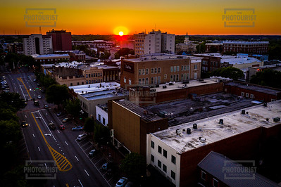 Downtown Athens GA Sunset Aerial View