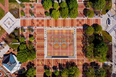 Centennial Park Fountain of Rings Off Due to Coronavirus - Atlanta Georgia Aerial View
