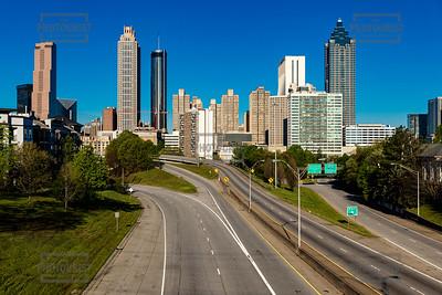 Atlanta Skyline from Jackson St Bridge - No cars due to Coronavirus