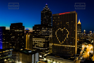 Marriott Marquis Heart Lights for Unity during Coronavirus Pandemic - Atlanta GA