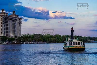 Ferry on Savannah River ar Dusk