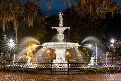 Fountain at Forsyth Park at Night- Savannah