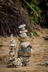 Rocks Stacked at the Beach - Maui Hawaii