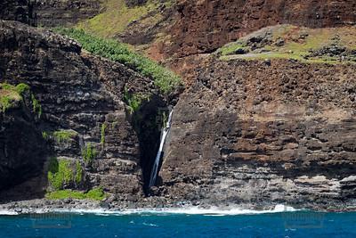Na Pali Coast Waterfall - Kauai Hawaii