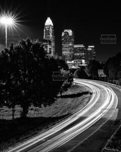 Charlotte NC Skyline at Night Black & White