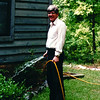 Randal Watering Ajuga at Guest Room Bed - June 2000