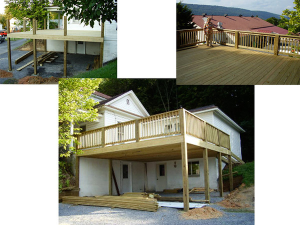 Porch construction progress at Puhalla home in Romney WV