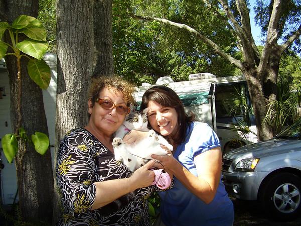 Dixie (Babbi) Bonini, Left, with Rosalind Puhalla a feline friend