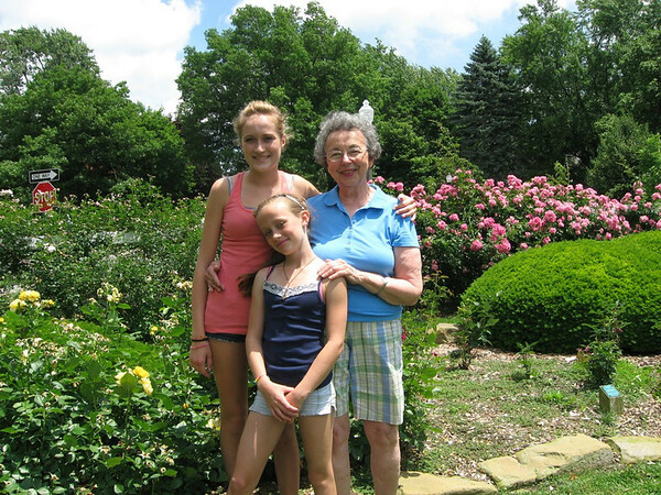 Mary with Rachael and Julia at Ft. Wayne Rose Garden