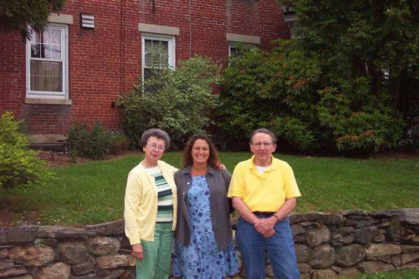 Jim and Mary with Jane Tallman visiting the Lacey Family Home June 2004 in Southbridge MA.