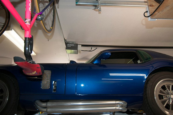 Garage door opener is right on the ceiling