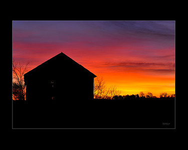 Sunrise Barn Silhouette