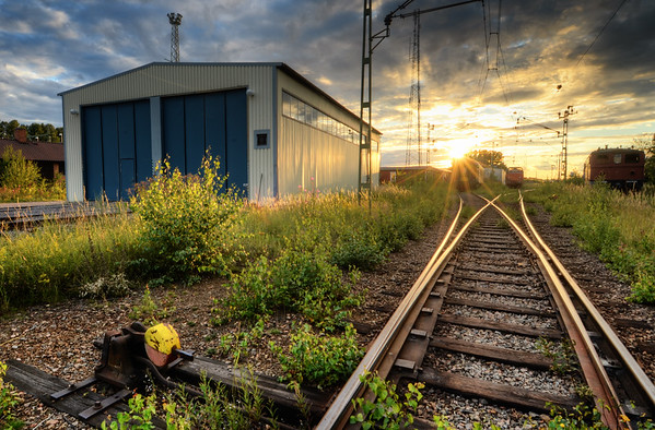 Railroad Garage Sunset