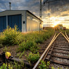 Railroad Garage Sunset