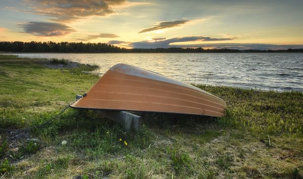 Sunset Boat Ashore