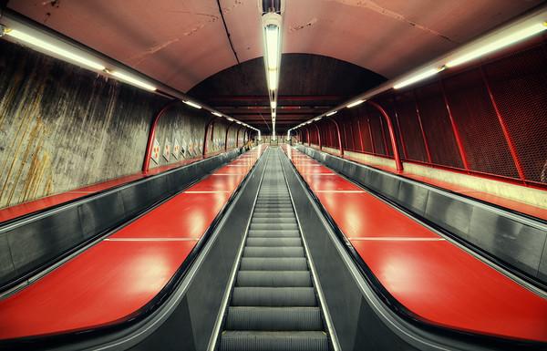 Red Subway Escalators II