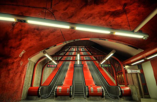 Red Subway Escalators I