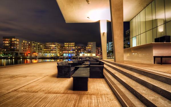 Concrete Patio by Night