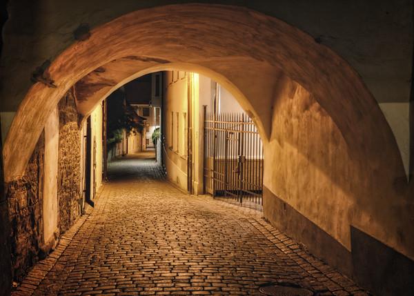 Cobblestone Alley Night