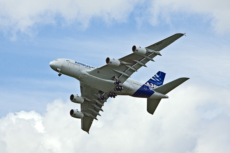 24th Jul 10:  An A380 doing it's display at the Farnborough Air Show.  Taken from the bridge over the South Western main line on the B3012 in Frimley Green
