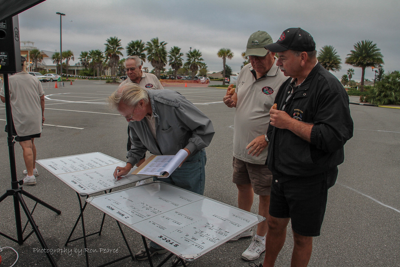"Mike setting up the race schedule for the day.  There were 4 classes of vehicles running, with numerous heats and semi-featured races before the ""feature races"".  Lots of work to figure everyone's place in the line-up.  Thanks Mike!"