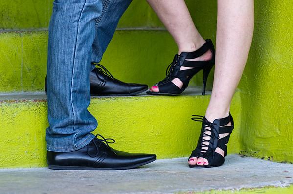 Fashionable shoes of engagement couple