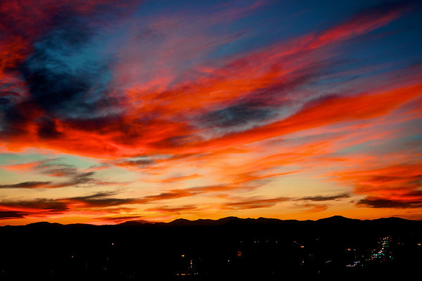 Sunset over the Front Range of Colorado, November 9th, 2013 - Baker Neighborhood, Denver