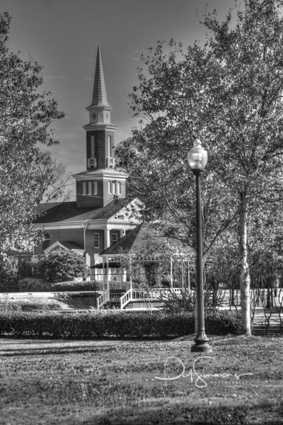 First Presbyterian Church as seen through Sally Kate Winters Park in downtown West Point, MS