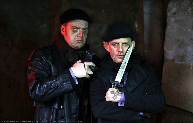 """Frame taken from the cinemagraph for Croup and Vandemar, The Old Firm (Ezra Buzzington and Bryan Krasner, respectively) in Neil Gaiman's Neverwhere at Sacred Fools Theater (directed by, Scott Leggett). See the cinemagraph in motion here, <a href=""""http://neverwherela.tumblr.com/post/47562468734/croup-and-vandemar-the-old-firm"""">http://neverwherela.tumblr.com/post/47562468734/croup-and-vandemar-the-old-firm</a>"""