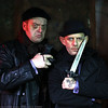 "Frame taken from the cinemagraph for Croup and Vandemar, The Old Firm (Ezra Buzzington and Bryan Krasner, respectively) in Neil Gaiman's Neverwhere at Sacred Fools Theater (directed by, Scott Leggett). See the cinemagraph in motion here, <a href=""http://neverwherela.tumblr.com/post/47562468734/croup-and-vandemar-the-old-firm"">http://neverwherela.tumblr.com/post/47562468734/croup-and-vandemar-the-old-firm</a>"