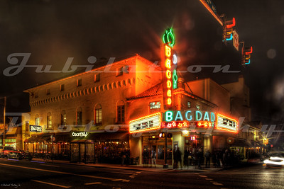 The Bagdad Theatre, Portland, OR.  Opened in 1927 and still going strong as part of the McMenamins chain of theater/pubs.